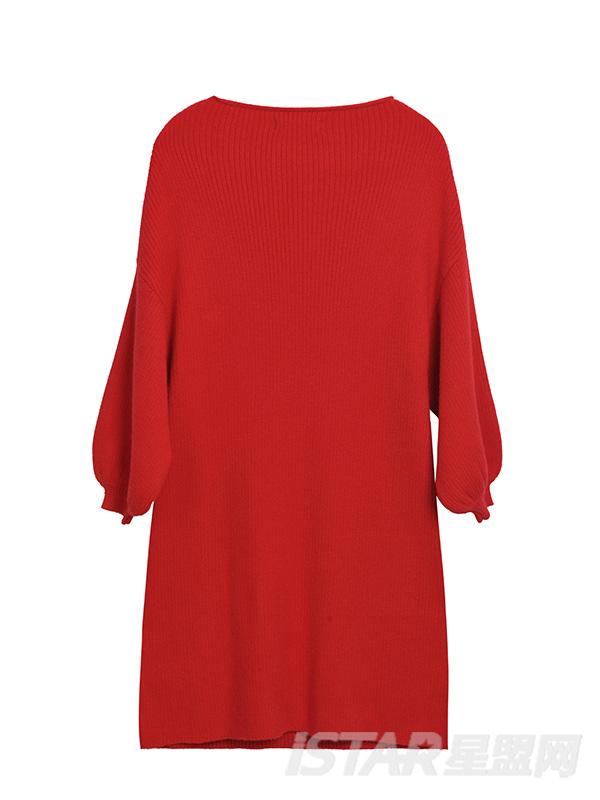 灯笼袖红色连衣裙