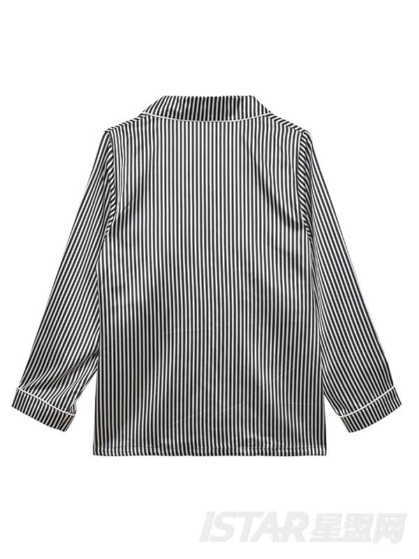 K哥字恋系列原创条纹真丝睡衣