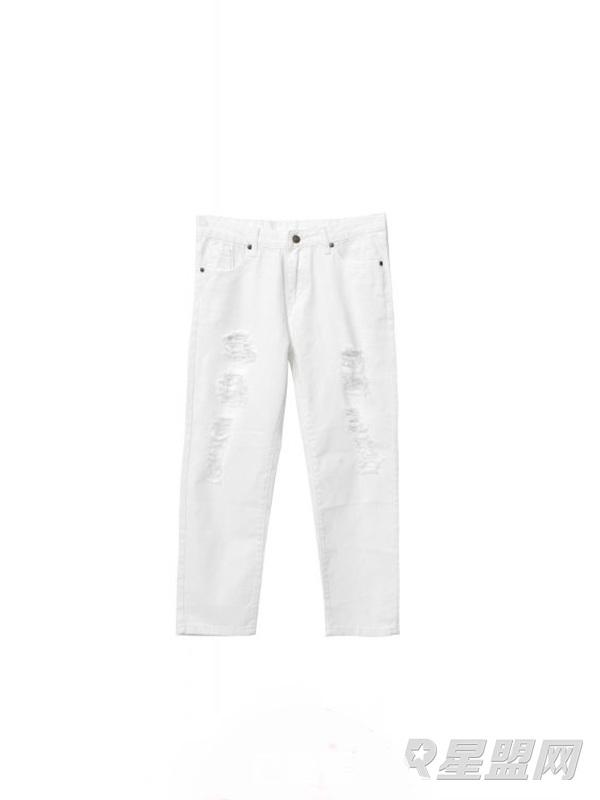 白色破洞牛仔裤