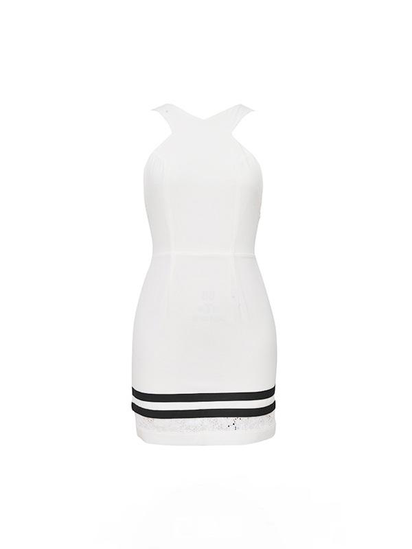 蕾丝镂空黑白条纹连衣裙