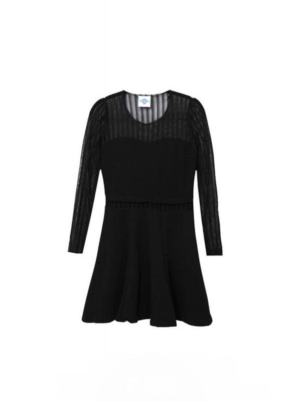 网纱竖条纹修身长袖打底百褶裙