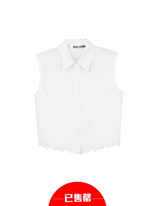 无袖衬衫印花短裙两件套