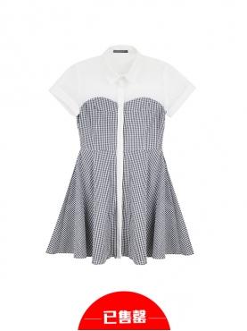 立领拼接黑白格纹连衣裙