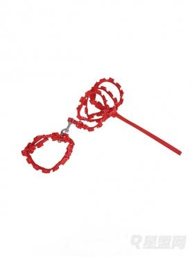 时尚波点红荷叶边装饰牵引绳