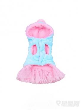 粉嫩毛绒带帽宠物服