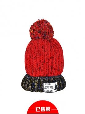 圣诞花色甜美毛球装饰毛线帽