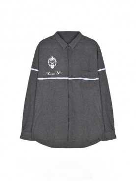 N-ation优雅灰粉丝服水洗条纹衬衫