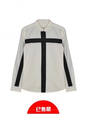 十字架线条拼接个性潮流白衬衫