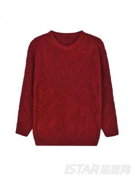 红色扭花设计休闲个性毛针织衫