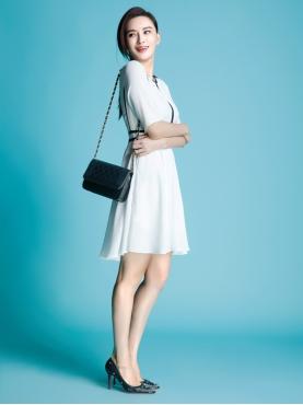 优雅黑白撞色气质连衣裙