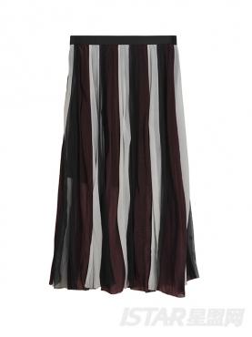 彩条拼接半透明优雅半身裙