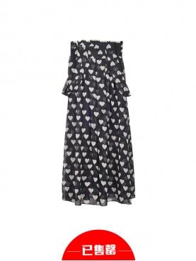 雪纺心型图案吊带连衣裙