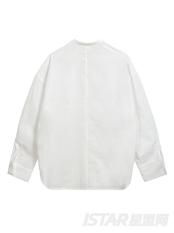 金属扣圆领长袖宽松衬衫