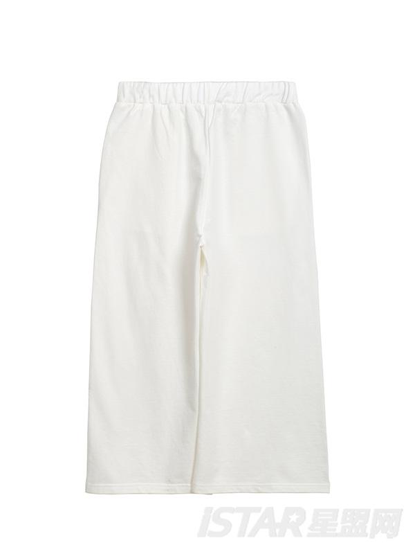 纯色宽松高腰阔腿七分休闲裤