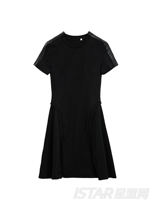分割拼接连衣裙