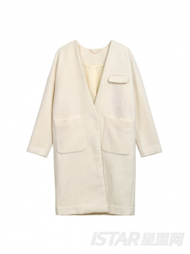V领开襟口袋中长纯色羊毛呢外套