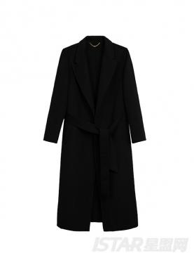 长款腰带修身羊毛呢大衣