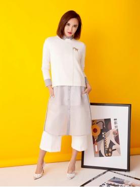 高级灰时尚长款透视衬衫裙外套