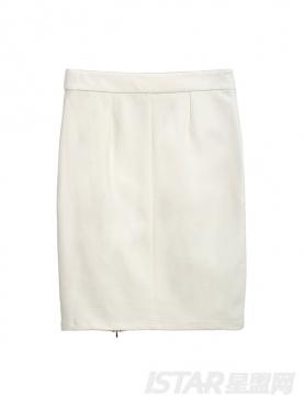 撞色拉链修身包臀短裙