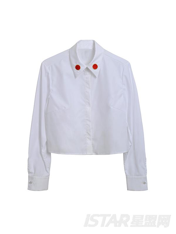 短款领口图案设计衬衫