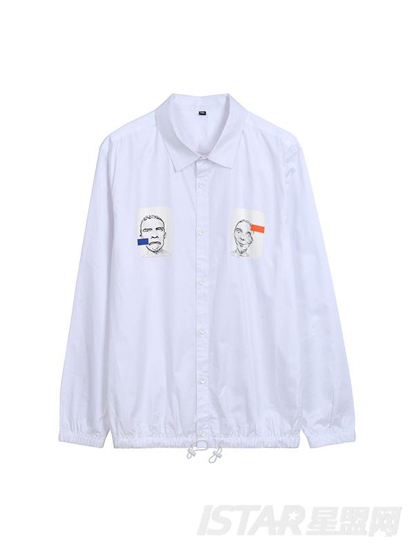 小人头装饰印花衬衫