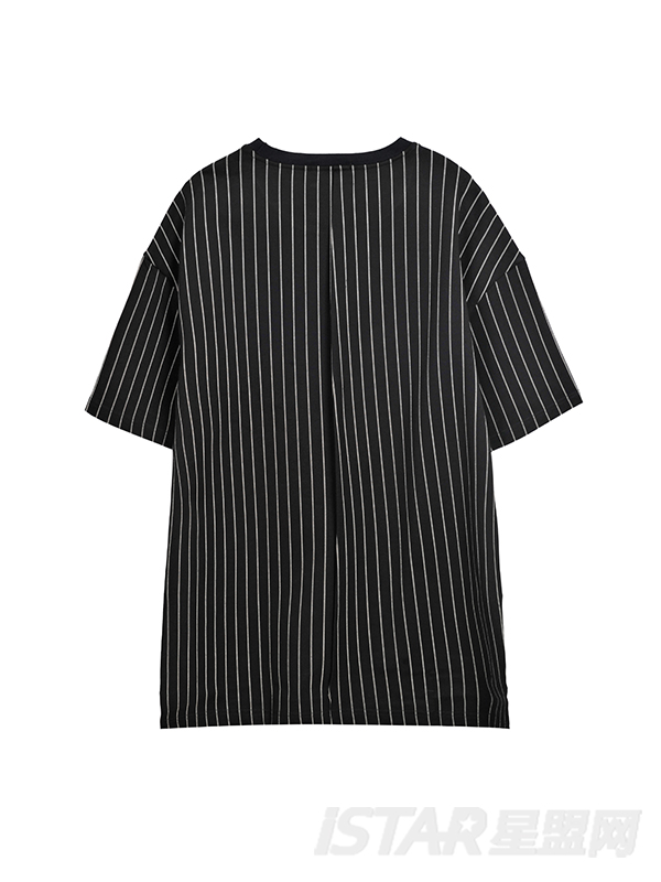 Dorayaki品牌不规则下摆条纹上衣