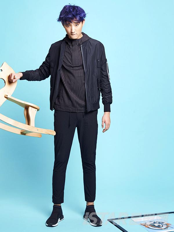 Dorayaki品牌个性领口设计条纹衬衫