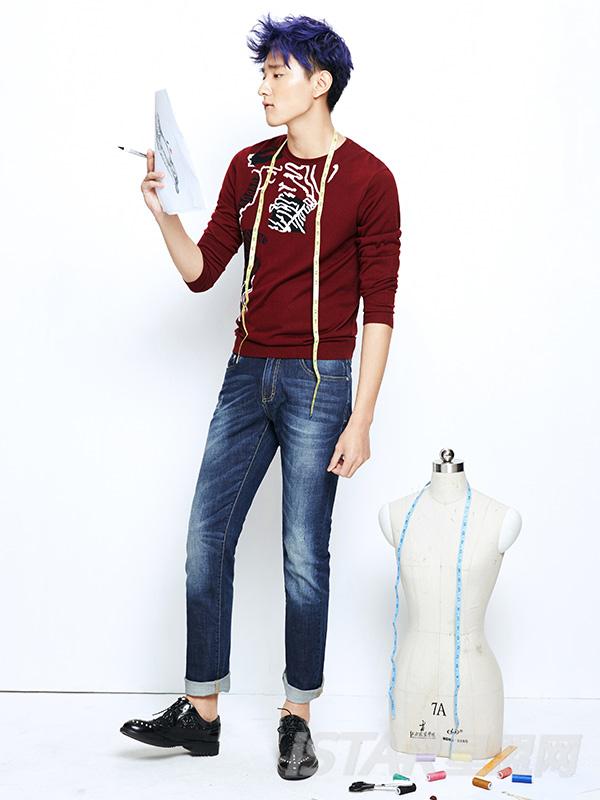 Dorayaki品牌水洗工艺休闲牛仔裤