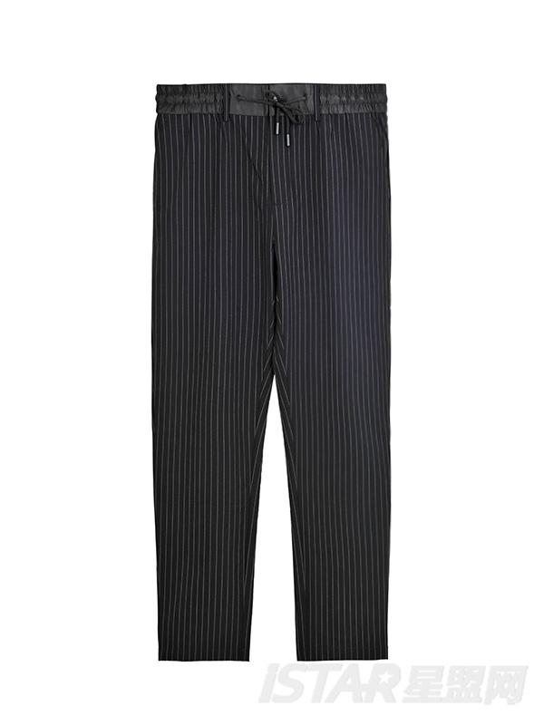 Dorayaki品牌条纹松紧休闲休闲裤