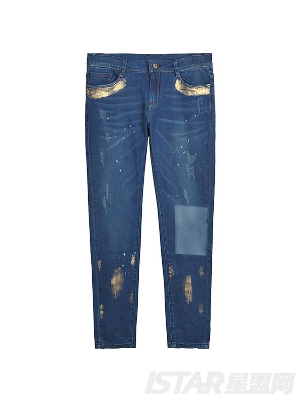 个性拼接印花装饰牛仔裤