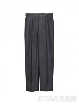 优雅条纹直筒西装裤