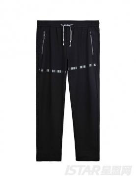 条状印花装饰设计休闲裤