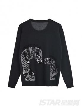时尚黑亮片装饰图案休闲针织衫