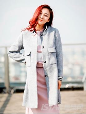时尚棒球风茧型休闲长款保暖外套