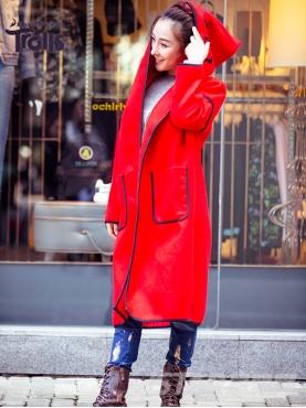 时尚线条边装饰长款休闲外套