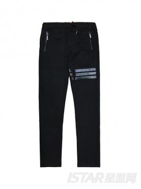 运动条纹装饰休闲保暖纯棉长裤