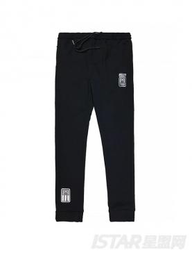 休闲字母小装饰纯棉加绒保暖长裤
