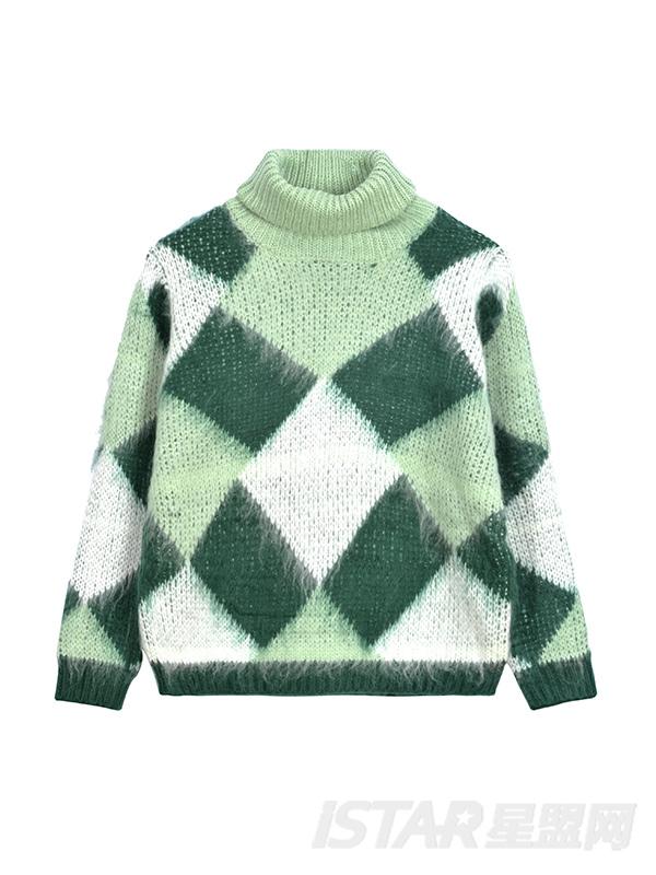 马海毛格子高领毛衣