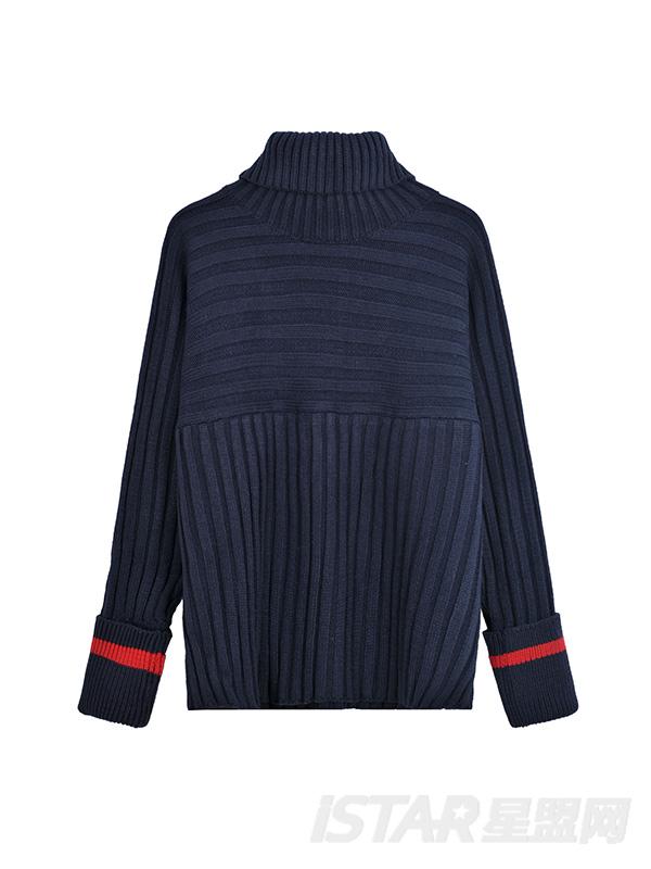 坑条高领毛衣