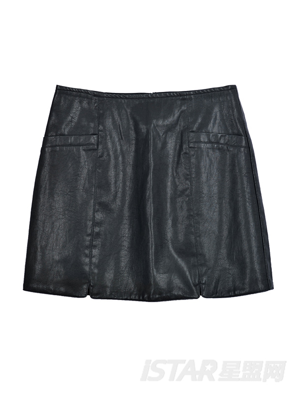 分割线设计PU短裙