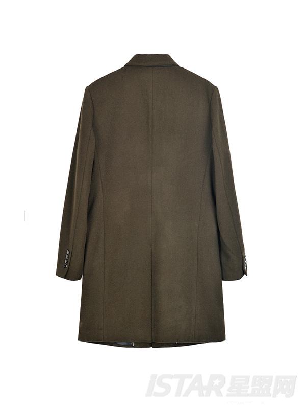 徽章长款呢大衣