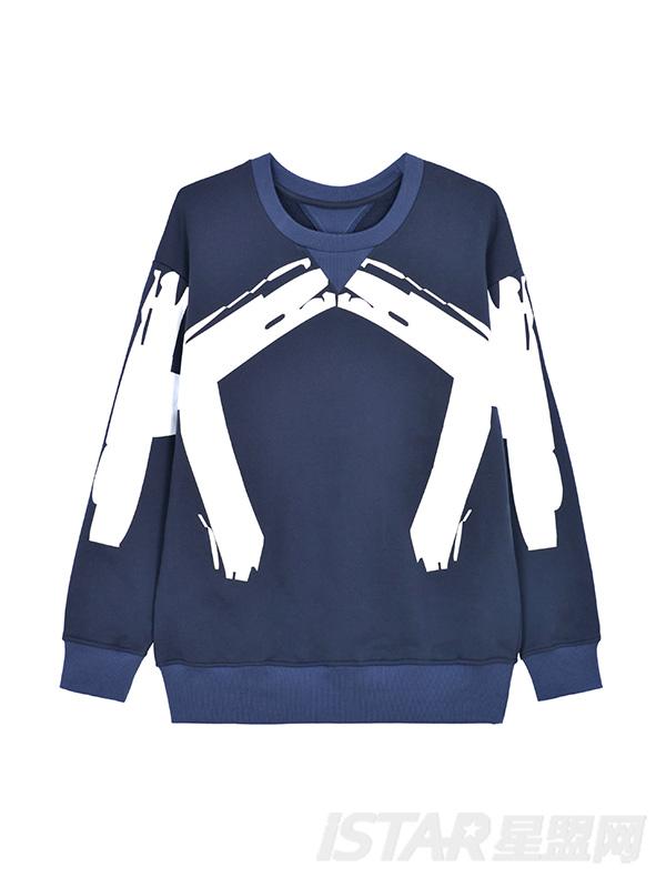 K哥字恋系列定制款字母装饰潮流休闲卫衣