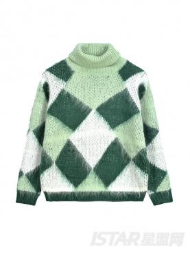 温暖马海毛清新格子高领毛衣