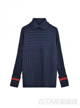 时尚坑条纹个性开叉高领保暖毛衣