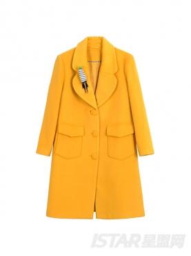 阳光黄个性翻领温暖舒适毛呢大风衣