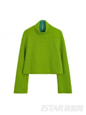 时尚绿毛呢宽松高领短款上衣
