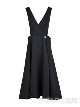复古大裙摆背带优雅连衣裙