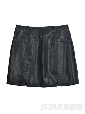 时尚分割线设计PU包臀短裙