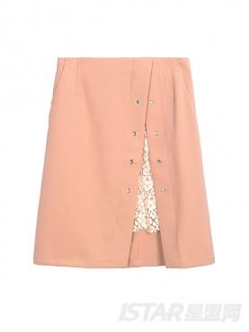 时尚拼接蕾丝A字半身冬裙