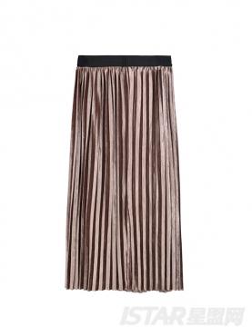 金属色长款百褶高腰半身裙